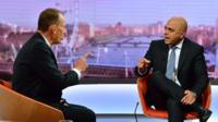 Andrew Marr and Sajid Javid on set