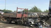 Crushed fly-tip lorry