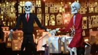 Puppets as Katy Perry performs on stage at the Brit Awards at the O2 Arena