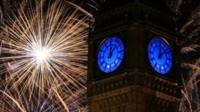 Fireworks around Big Ben