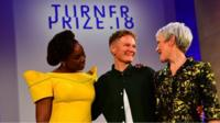 2018 Turner Prize winner Charlotte Prodger (centre) with Chimamanda Ngozi Adichie (left) and Tate director Maria Balshaw