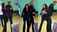 Meghan and Harry playing netball