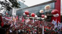 Demonstrators in Sao Paulo preotesting against planned austerity measures (15/03/2017)