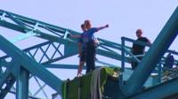 Caroline Stewart about to jump from the Tees Transporter Bridge