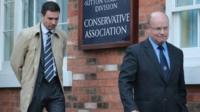 Stuart Hinton (left) and Ken Mackaill (right) are seen leaving the meeting with Mr Mitchell