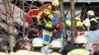 Casualty carried from train crash site