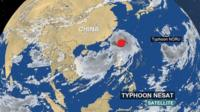 BBC Weather satellite showing the development of Typhoon Nesat and Typhoon Noru