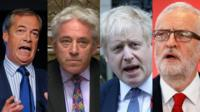 Nigel Farage, Johns Bercow, Boris Johnson, Jeremy Corbyn