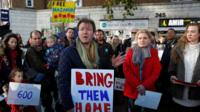Richard Ratcliffe talks to demonstrators