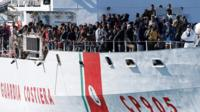 Migrants in an Italian Coastguard boat