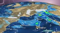 BBC Weather chart showing heavy rain and snow across Europe