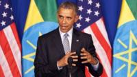 President Barack Obama speaks at a news conference in Ethiopia