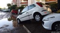 Damaged cars during floods in Mandelieu-la-Napoule, southeastern France.