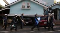 Rescue teams in Kyushu Island
