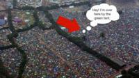 An aerial view of the crowd at Glastonbury