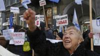 Woman protesting in Kiev