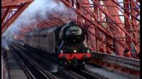 Flying Scotsman crosses the Forth Bridge