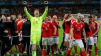 Wales celebration post Belgium