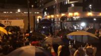 Crowd gathers outside Kwai Chung Road police station