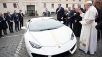 Pope Francis blesses a Lamborghini Huracan