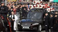 The funeral cortege of PC Keith Palmer leaves Southwark Cathedral on 10 April 2017.
