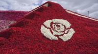 The rose pyramid in Ecuador comprises of more than 500,000 roses