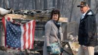 US President Donald Trump and Paradise Mayor Jody Jones view wildfire damage in Paradise