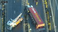 Crane and overturned lorry on the Forth Road Bridge