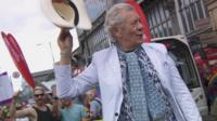 Lord of the Rings actor Sir Ian McKellen took on the role as the parade's grand marshal