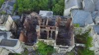 Aerial images of fire-ravaged North Wales Hospital, Denbighshire.
