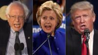 Sanders, Clinton and Trump