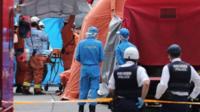 Emergency services officers at Kawasaki