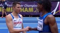 GB's Andrew Pozzi and USA Jarret Eaton shake hands