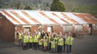 Bright Futures School children at site of new school