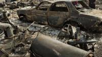 Burnt out car in Fort McMurray, Canada, Friday, May 13, 2016.
