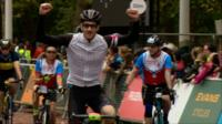 Ride London competitors at the finish line