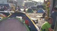 Cuban migrants have been staying in tents