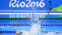 A swimmer trains at the Olympic Aquatics Stadium ahead of the Rio 2016 Olympic Games