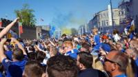 Cardiff City fans celebrate at Cardiff Castle