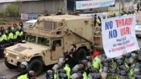 A US military vehicle which is a part of Terminal High Altitude Area Defense (THAAD) system arrives in Seongju, South Korea, 26 April 2017.
