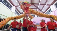 The Choy Lee Fut lion and dragon dance team