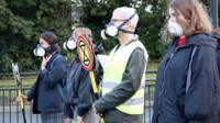 Residents and schoolchildren were part of the action at a busy Newcastle junction during rush hour.