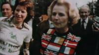 Margaret Thatcher, campaigning as Conservative Party leader in 1975 in a Europe jumper