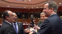 Francois Hollande jokes with David Cameron