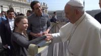 Greta Thunberg meeting the Pope