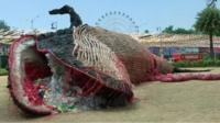 Dead whale made out of plastic waste