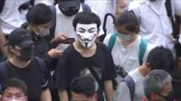 A man in a mask during the protest