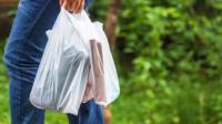 Shopper carrying plastic bags