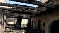 Burnt remains of Roman Catholic church