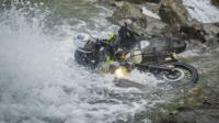 motorbike and rider in water